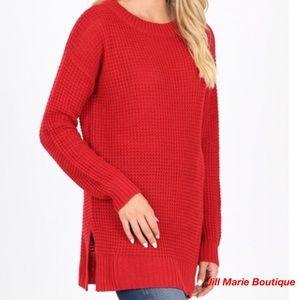 Red waffle knit sweater S, M, L, XL NWT